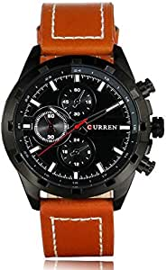 Curren Men's Black Dile Leather Strap Watch 8216