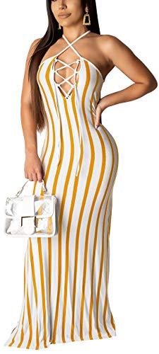 Women Casual Slim Sexy Stripe Spaghetti Strap Long Maxi Summer Beach Sleeveless Split Dress Yellow