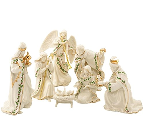 Lenox Holiday Miniature Nativity 7 Piece Figurine Set Holy Family 3 Kings Angel with Trumpet -
