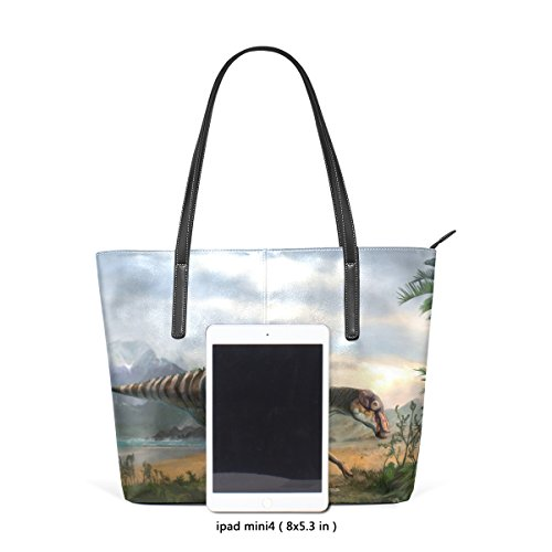 COOSUN Dinosaurier Kunst PU Leder Schultertasche Handtasche und Handtaschen Tasche für Frauen