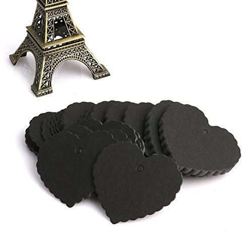 (Mimgo Store 100Pcs Kraft Paper Heart-shaped Hang Tags Wedding Party Favor Label Price Cards (Black))