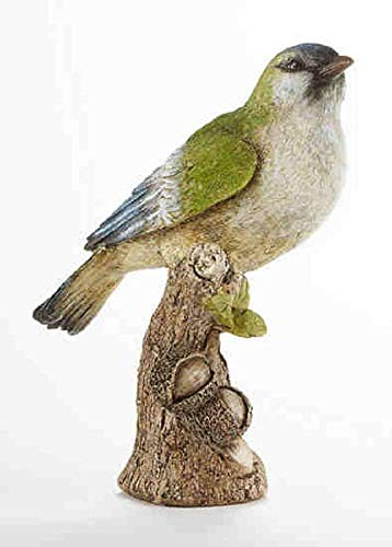 Delton Products 3.7 inches x 8.3 inches Resin Bird on Stump Collectible Figurine (Bird Collectibles)