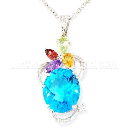 Pierre Précieuse Topaze Bleu, diamant et or blanc 18carats Pendentif Ovale