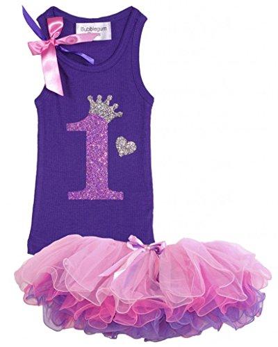 Bubblegum Divas Baby Girls' 1st Birthday Shirt Purple Tutu Outfit 18 Months