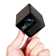 """1.8"""" Cube Mini DLP Projector,LED HD Portable Pocket Projector with Audio Splitter for Sharing Movies, Photos and Videos"""