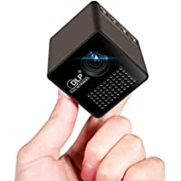 1.8 Cube Mini DLP Projector,LED HD Portable Pocket Projector with Audio Splitter for Sharing Movies, Photos and Videos