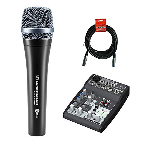 Sennheiser e935 Handheld Cardioid Dynamic Microphone with Behringer XENYX 502 Compact Audio Mixer & 20' XLR Cable Bundle ()
