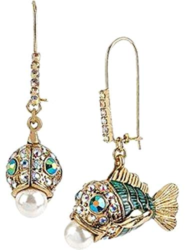 (Betsey Johnson Gold Fish Pearl Crystals Dangle Leverback Gold-Tone Earrings )