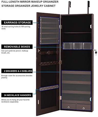 Nicetree NT-HF003 - Armario organizador de joyas con espejo de pantalla completa, montado en la pared o en la puerta: Amazon.es: Hogar