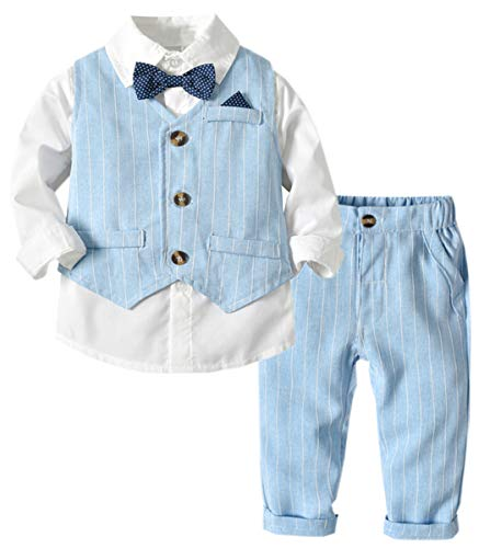 DAIMIDY Baby Boys Formal Suit, Long Sleeves Shirt with Tie + Vest + Pants Set, Tuxedo Outfit Dress Clothes for Baby and Toddler Boys, Light Blue, 12-18 Months = Tag 80