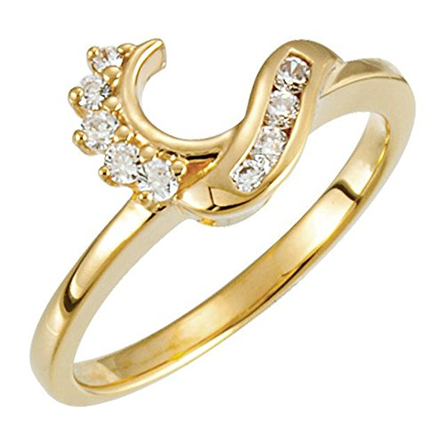 Silver Gems Factory 14k Yellow Gold Plated Simulated Diamonds Station Solitaire Swirl Wrap Ring Guard Enhancer 1/6 ct 10