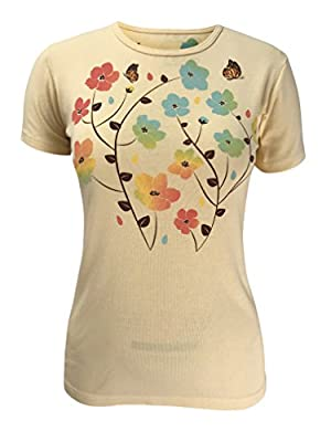 Green 3 Spring Ombre Flowers Short Sleeve T Shirt (Light Yellow) - 100% Organic Cotton Womens Tshirt, Made in The USA