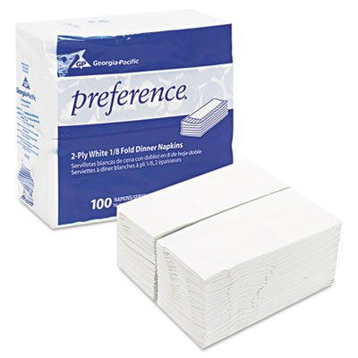 1/8 Fold Dinner Napkins, 15 x 16, White, 3000/Carton, Sold as 2 Carton, 3000 Each per Carton by Georgia Pacific Professional