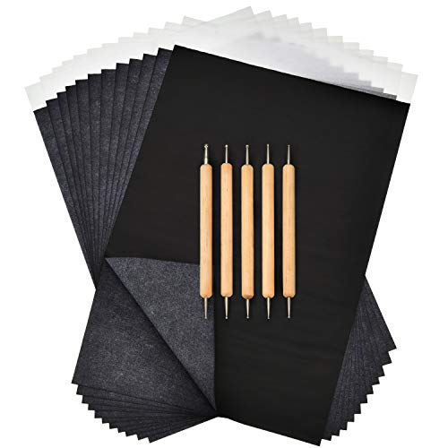 Boao 100 Sheets Black Carbon Paper Transfer Tracing Paper and 5 Pieces Double Ended Tracing Stylus Dotting Tools for Wood Paper ()