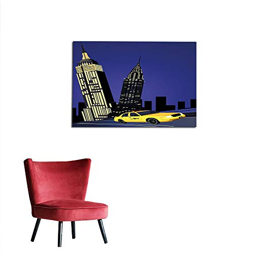 kungfu Decoration Wallpaper City,Skyscrapers and Taxi New York Theme American Downtown Scenic Skyline,Violet Blue Yellow Black Cool Poster W23.6 x L15.7 ()