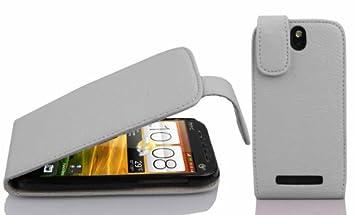 Cadorabo Carcasa para HTC One SV Funda en Funda Carcasa de piel sintética en FLIP Diseño Estructurado Case Cover Carcasa Funda Magnesio Color Blanco: ...