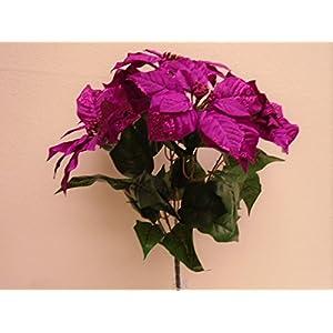 "Fuchsia Christmas Poinsettia Glitter Bush Artificial Silk Flower 18"" Bouquet 5-139 FU 115"