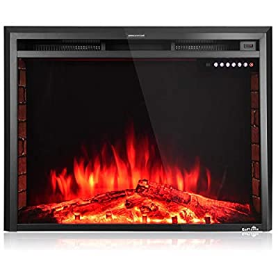 """Snow Shop Everything 36"""" Electric Wall-Mounted Fireplace Insert Freestanding Stove Heater Best Choice to Warm Up Your Room in Winter"""