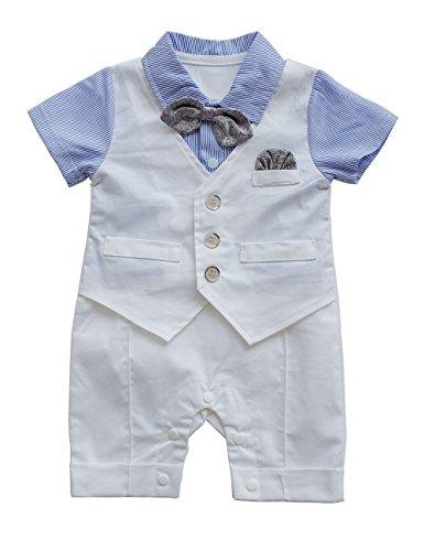 HeMa Island HMD Baby Boy Gentleman White Shirt Waistcoat Bowtie Tuxedo Onesie Jumpsuit Overall Romper (V Blue, 12-18 M)