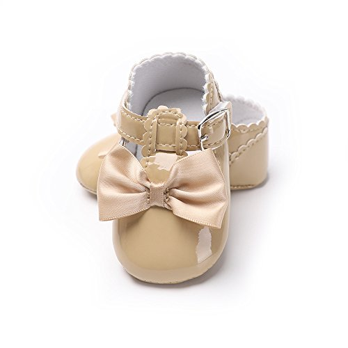 YYF Baby-Schuhe Mary Jane Shoes PU Leder Weiche Sohle mit Bowknot Firstwalk Anti-Slip Schuhe Khaki
