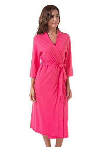 SIORO Women's Kimono Robes Cotton Lightweight Bath Robe Knit Bathrobe Soft Sleepwear V-Neck Ladies Nightwear,Fuchsia M