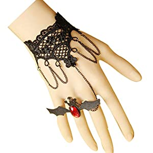 Amelery Halloween Costumes for Women Girls Bracelet Bat Wings Wrist Band Hand Finger Ring Punk Lace Gothic Slave Bat Ruby Sexy Ring Set Tassel Chain