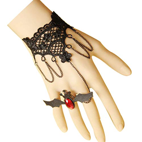 Amelery Halloween Costumes for Women Girls Finger Ring Bracelet Bat Wings Wrist Band Hand Finger Ring Punk Lace Gothic Slave Bat Ruby Sexy Tassel Hand Chain