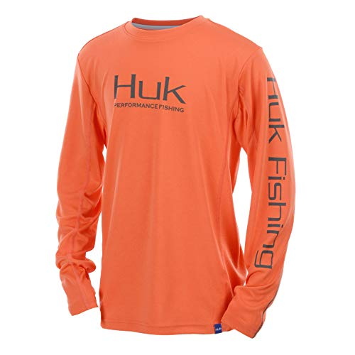 Huk Youth  Icon X Long Sleeve Shirt, Coral, Youth Large