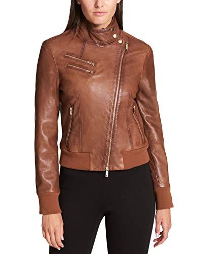 - DKNY Women's Leather Knit-Trim Bomber Jacket Rum Large