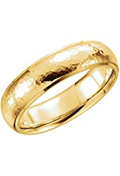 14k Yellow Gold 6mm Hammer Finish Comfort Fit Wedding Band for Men