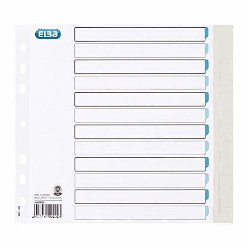 Elba 02424 Register in Blank, 12 Teilig, Strengthened Paper, RC, A4, 25 pcs, Light Gray