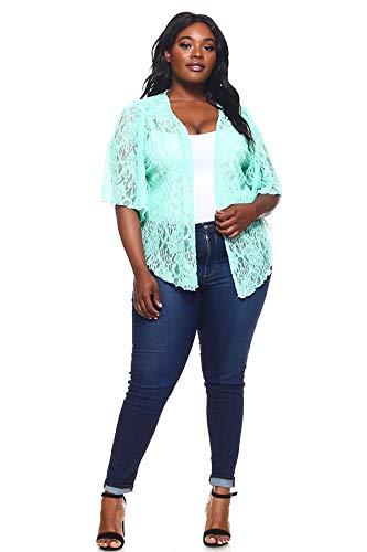 Womens Jade Green Plus Size Cascading Soft Lace Bolero Cardigan Shrug Top