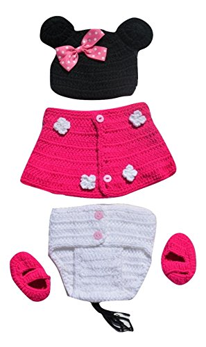 [Baby Photography Prop Bundle -1 Minnie Mouse Ear Hat- 1 Red Rose and white Skirted pull on diaper cover-2 Booties] (Minnie Mouse Outfit Ideas)