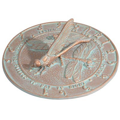 Whitehall Products Dragonfly Sundial, Copper Verdi