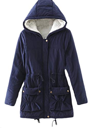 Slim TTYLLMAO Coat Long Winter Hoodie Fleece Sleeve Blue Fit Womens Navy Long Down YqCwYTp