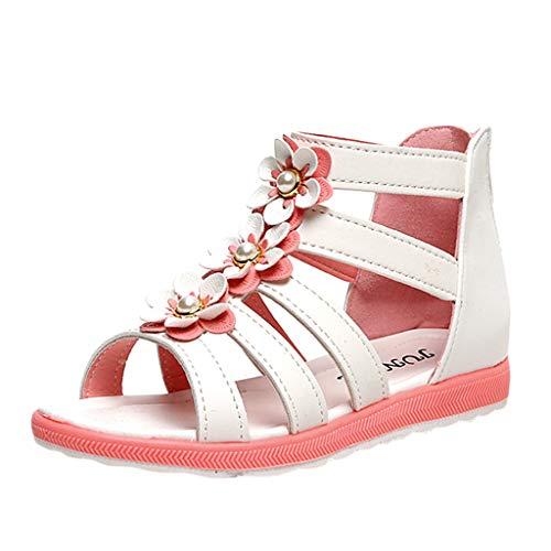 - Mysky Summer Toddler Baby Kids Girls Popular Sweet Pearl Flower Hollow Zip Princess Sandals White