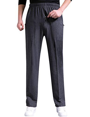 Zoulee Men's Casual Cotton Jogger Sweatpants Zipper Front Pants Dark Grey L