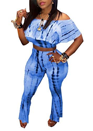 (LROSEY Women Summer Ruffle Off The Shoulder Tops Short Sleeve Shirts 2 Piece Outfits Wide Leg Pants Set Plus Size)