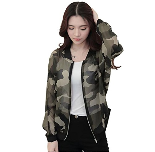 Usstore Women Coat Zipper Stand Collar Long Printed Casual Jacket Top Outwear (S)