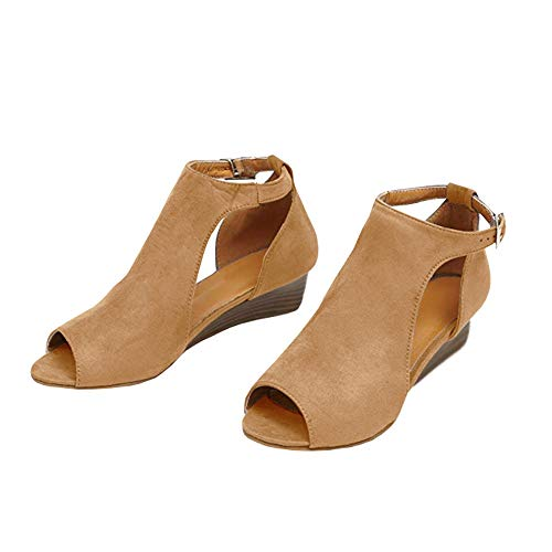 (Womens Open Toe Cutout Wedge Booties Ankle Strap Stacked Low Heel Work Boots Yellowish-Brown)