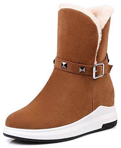 Easemax Women's Warm Low Wedge Heel Round Toe Pull On Faux Suede Ankle High Snow Booties Brown Lri963WYc3