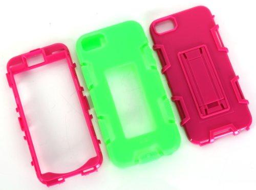 iPhone 5 5S SE Hülle , Heavy Duty Kickstand Grün PU Harte Rüstung Tasche Schutzhülle Shockproof Handyhülle Stoßdämpfende Schale Fall Case Shell Halter für Apple iPhone 5 5S SE