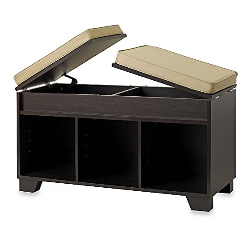 Split-Top Bench Storage Unit In Espresso
