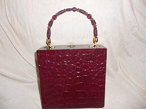 Cigarbox Purse, Soft Embossed Garnet Croc Print Leather, Tina Marie Purse, Vintage Cigar Box