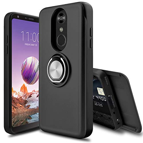 LEAPTECH LG Stylo 4 Case, LG Stylo 4 Plus Case, [Slider Card Slot] 360 Degree Rotating Ring Holder Shockproof Protection Phone Case Cover for LG Stylus 4/LG Q Stylo/LG Q Stylo Plus (Black) ()