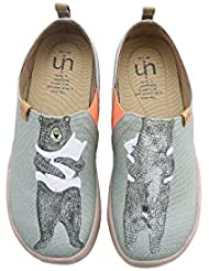 UIN Womens Bears Hug Travel Canvas Slip-on Shoe Grayish-Green