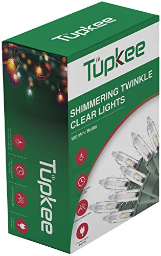 Christmas Random Twinkle Shimmering Lights - Indoor Outdoor - 20.5 Feet Light String, 100 Clear Bulbs - Christmas Tree Holiday Decor Sparkling Twinkling Christmas Lights (Christmas Lights Twinkle)