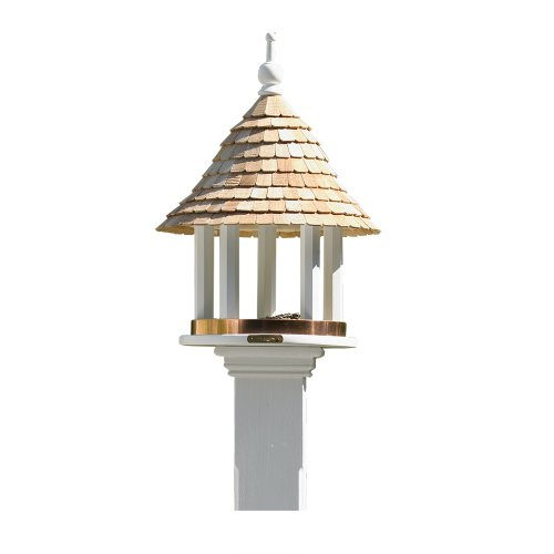 Lazy Hill Farm Designs 41501 Lazy Hill Feeder White Solid Cellular Vinyl with Natural Redwood Shingle Roof, 17-Inch by 24-Inch