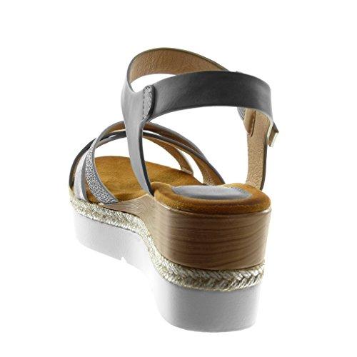 Angkorly Diamant Mule cm Basket Plateforme Tréssé 6 Plateforme Lanière Chaussure Gris Multi 5 Sandale Talon Compensé Bride Femme Semelle Strass Cheville Mode rfx8wrOnqt