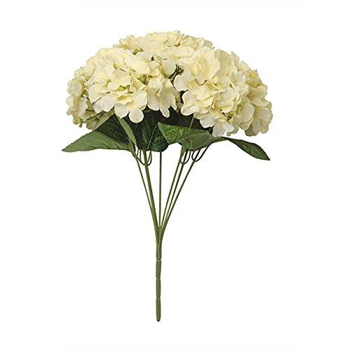 WDDH 7 Heads Artificial Flower Silk Hydrangea Bouquets Arrangements Bunch Bridal Wedding Party Garden Home Decoration (Cream) (Hydrangea Cream)